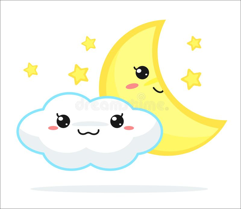 Weather forecast vector cute kawaii cartoon stock illustration