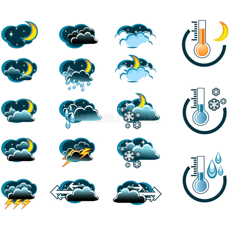 Weather Forecast vector icone set night vector illustration