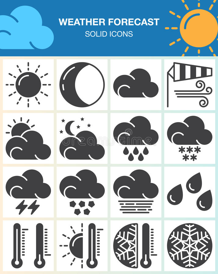 Weather forecast vector icons set, modern solid symbol collection, filled pictogram pack isolated on white. Signs, logo illustration vector illustration