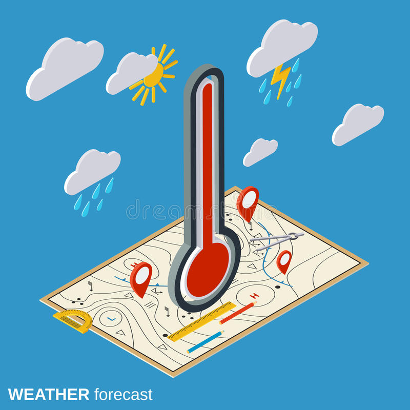 Weather forecast vector illustration. Weather forecast flat isometric vector illustration royalty free illustration