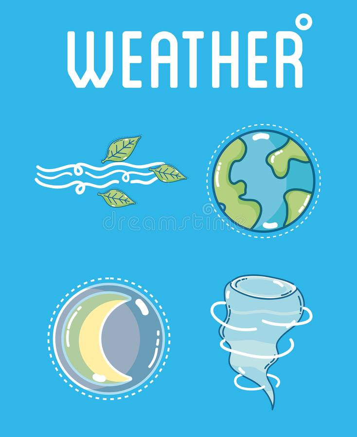 Weather and forecast. Template with elements vector illustration graphic design stock illustration