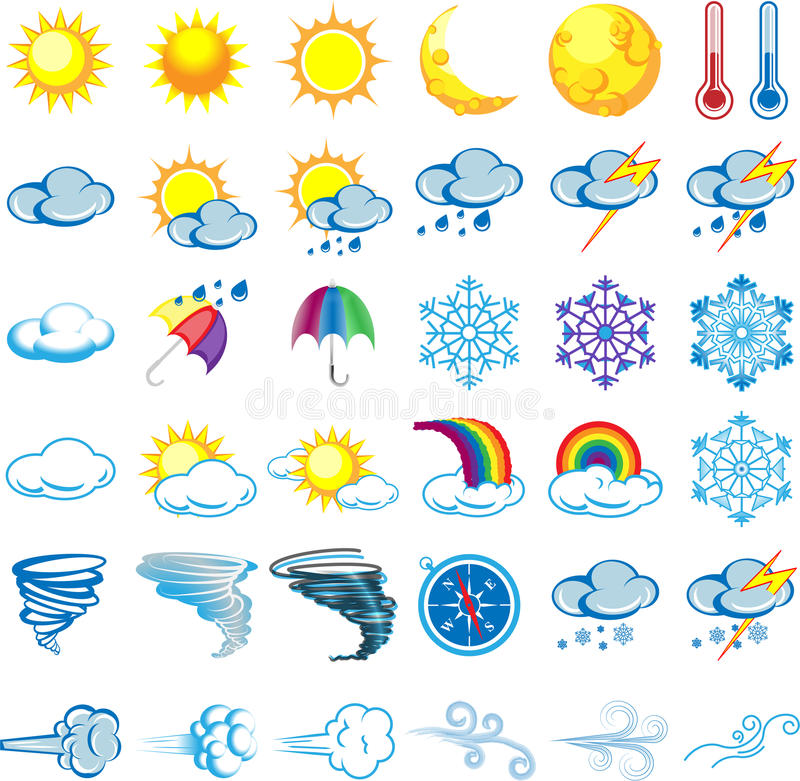 Weather Glyphs Black Colour. A set of 36 weather glyphs icons vector illustration