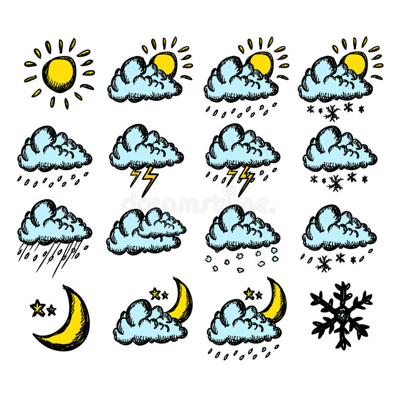 Download Weather hand drawing icons stock illustration. Image of illustration - 27605787