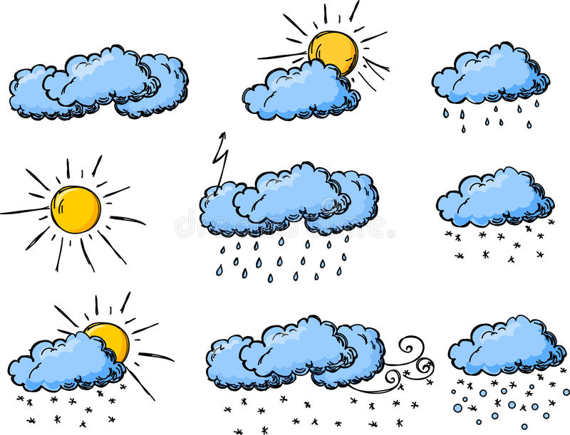 Download Weather Hand Drawing Icons, Vector Stock Vector - Image: 22172518