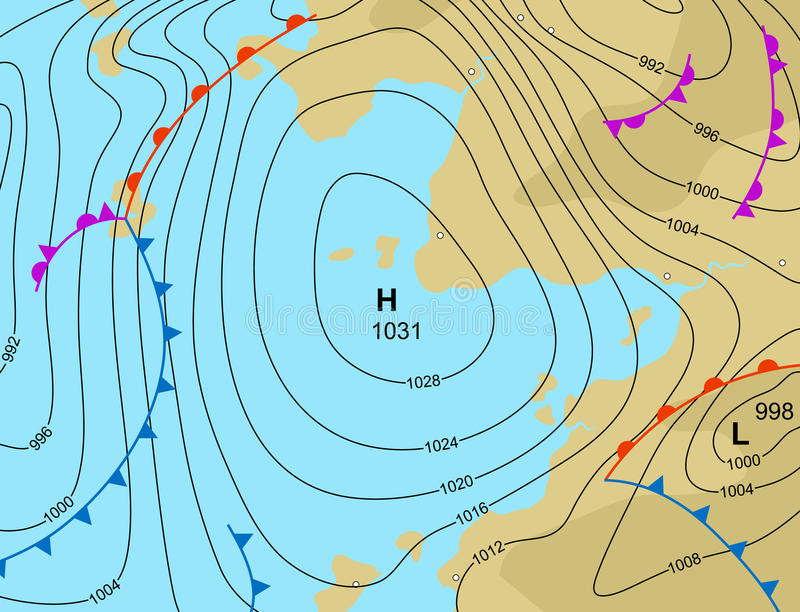 Weather high. Editable vector illustration of a generic weather map showing a high pressure system royalty free illustration