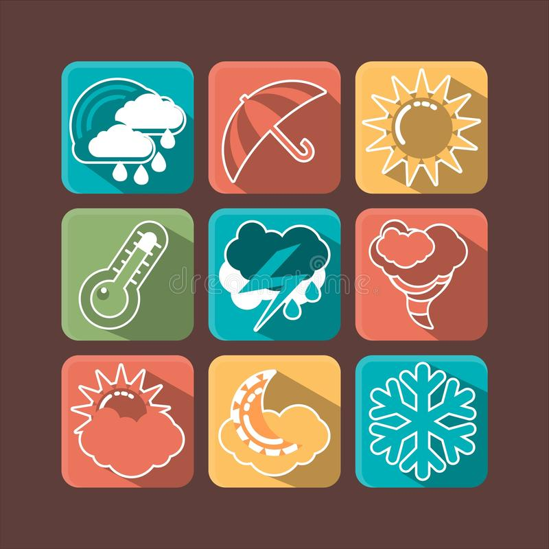 Download Weather iсons stock vector. Image of design, weather - 35963624
