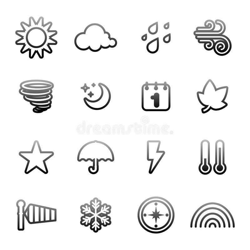 Weather icon set. Set of weather icon vector royalty free illustration