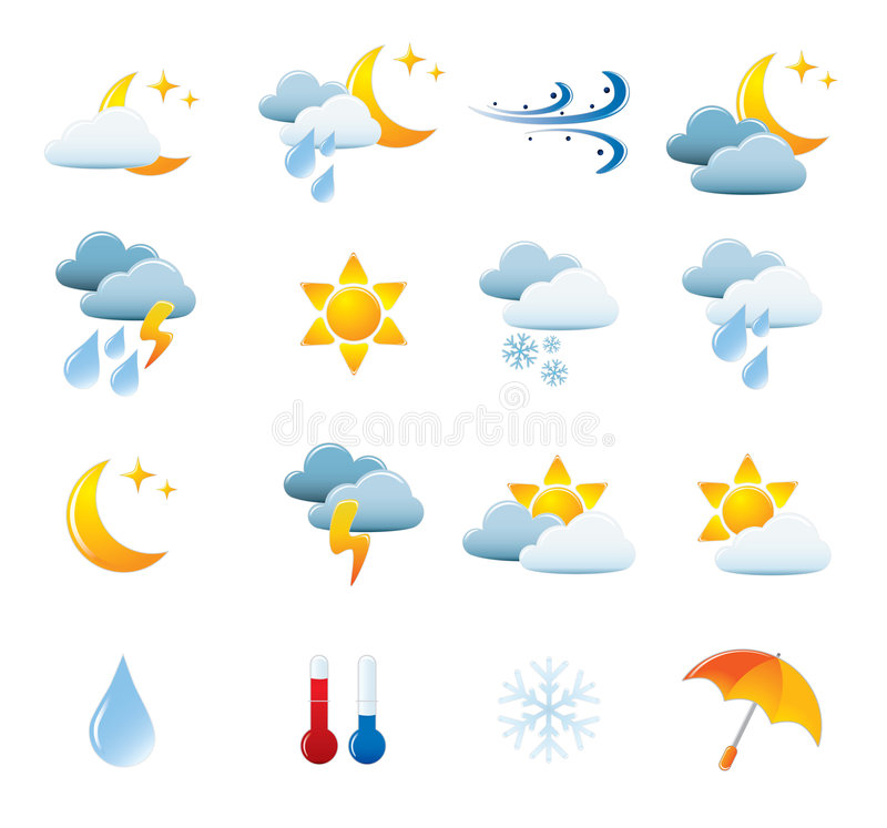 Download Weather Icon Set stock vector. Image of illustration, cloudscape - 6344272