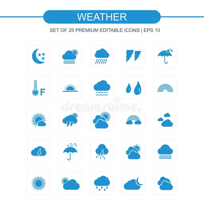 Weather icon set blue. For web design and application interface, also useful for infographics. Vector illustration stock illustration