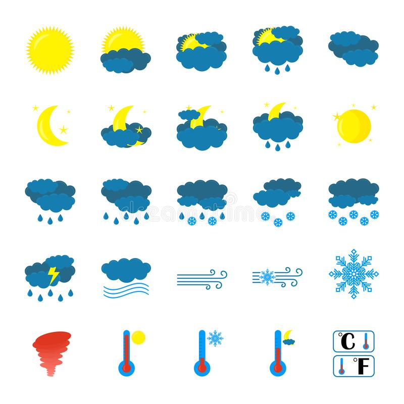 Weather icon set. Flat Symbols are isolated on white Background. Cartoon colorfull art vector illustrations. Vector royalty free illustration