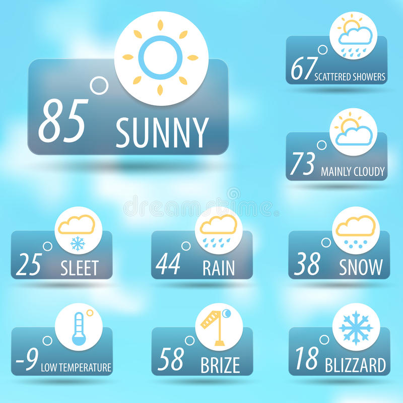 Weather icon set. Weather icon glossy set ,classy and stylish illustration for different media application stock illustration