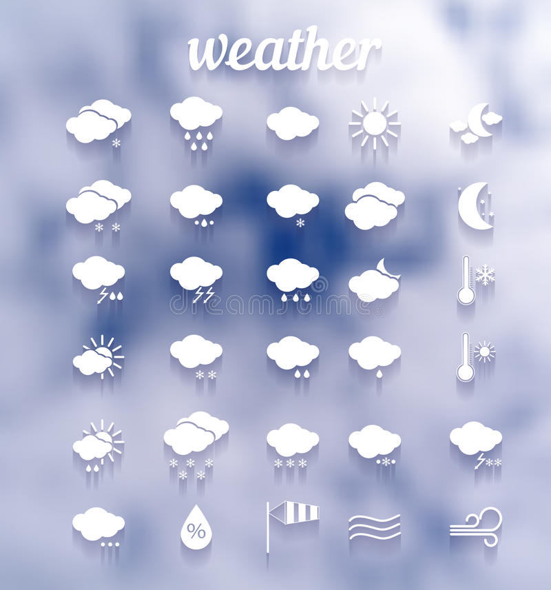 Weather icon set .Illustration eps10. Weather white icon set against clouds .Illustration eps10 royalty free illustration