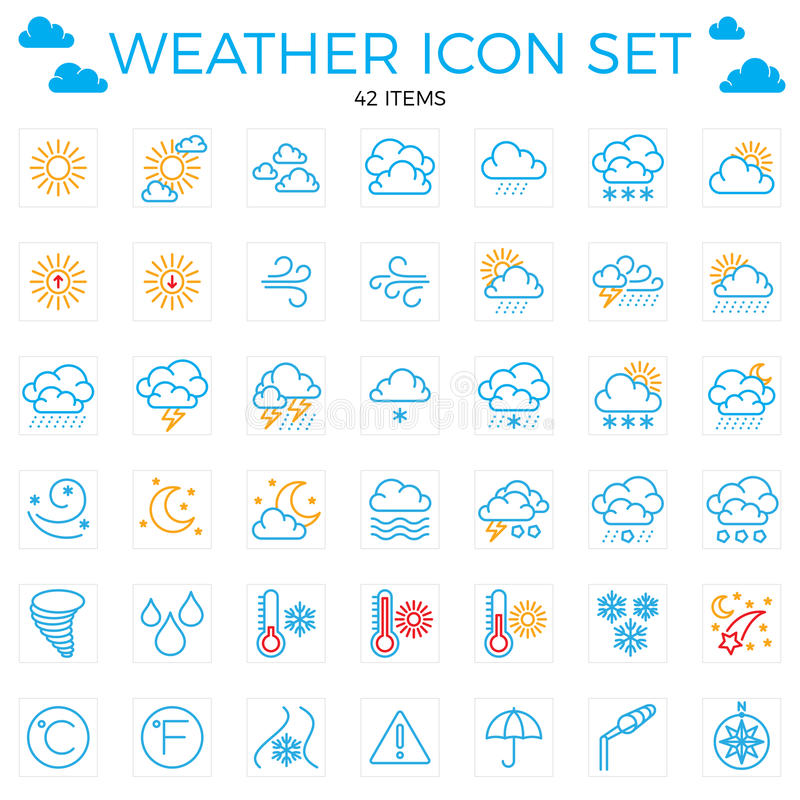 Weather icon set. Line icons.42 items. Clouds, sun, rain, umbrel vector illustration