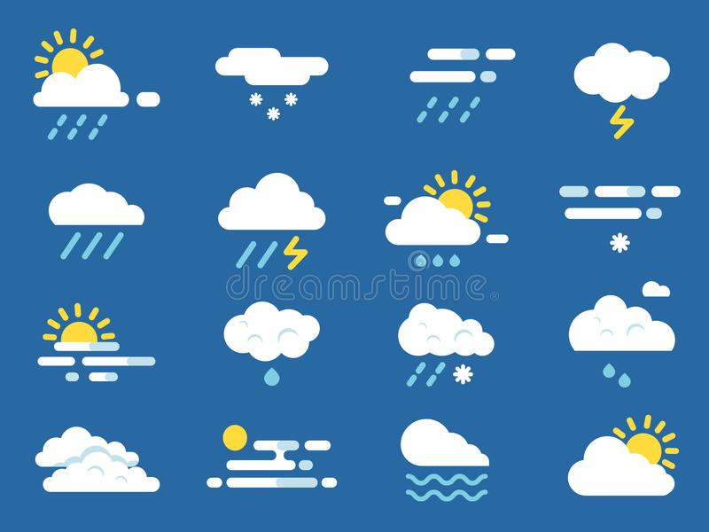 Weather icon set. Meteo symbols. Vector pictures in flat style. Sunny and storm, snowflake and rainy, forecast symbol illustration vector illustration