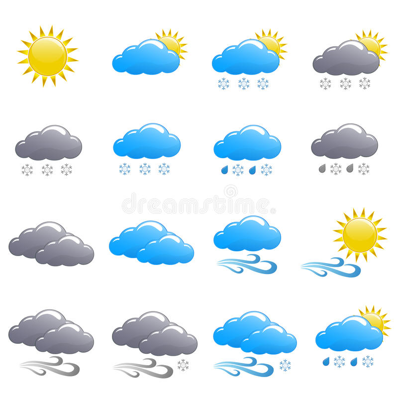 Weather icon set winter day. Isolated stock images