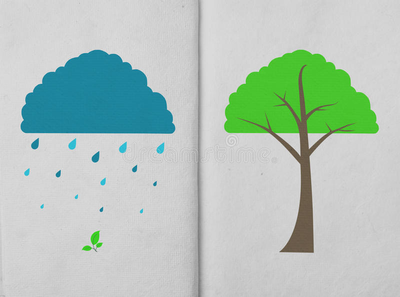 Weather icon and tree on hand made paper vector illustration
