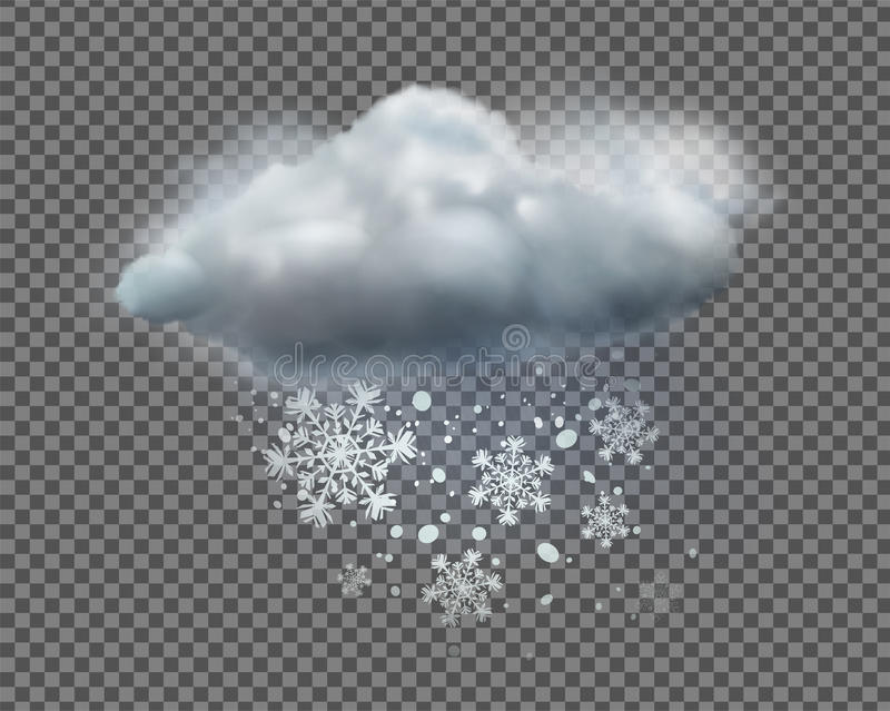Weather icon. Vector illustration of cool single weather icon with cloud and snow on transparent background vector illustration