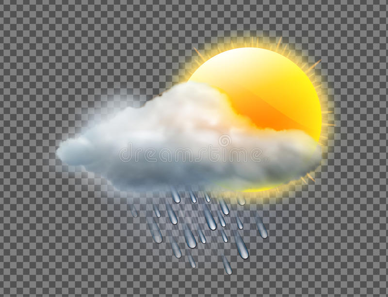 Weather icon. Vector illustration of cool single weather icon with sun, raincloud and raindrops isolated on transparent background vector illustration