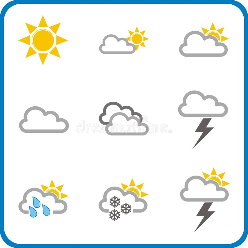 Weather icons 1 stock photography