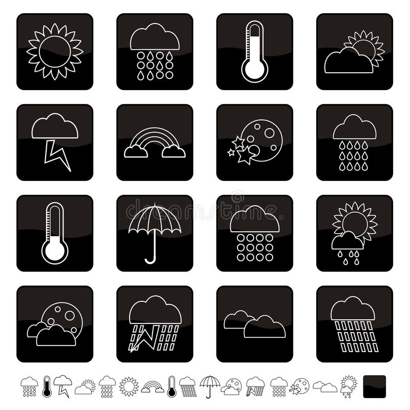 Download Weather icons stock vector. Illustration of white, thermometer - 10043307