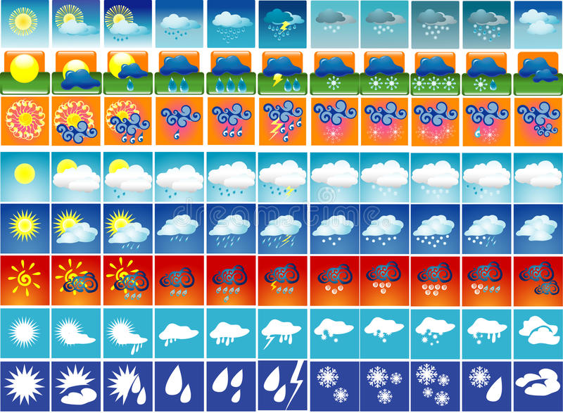 Download Weather icons stock vector. Image of cloud, cloudy, nature - 11569685