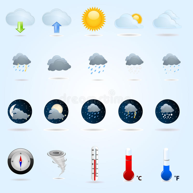 Download Weather icons stock vector. Illustration of nature, rain - 14823598