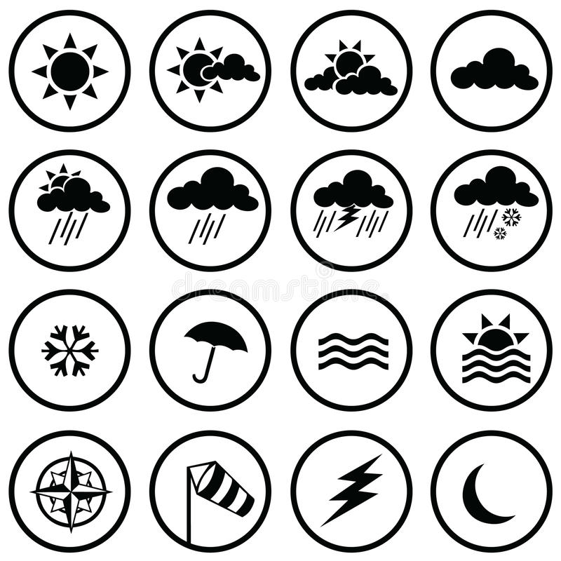 Download Weather Icons stock vector. Image of silver, glossy, sign - 15103407