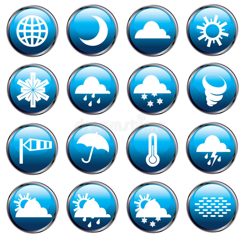 Weather icons. Set of 16 weather related icons stock illustration