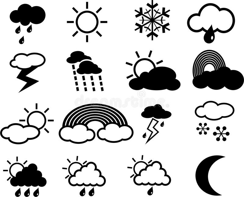 Download Weather Icons stock vector. Image of weather, raining - 25656251