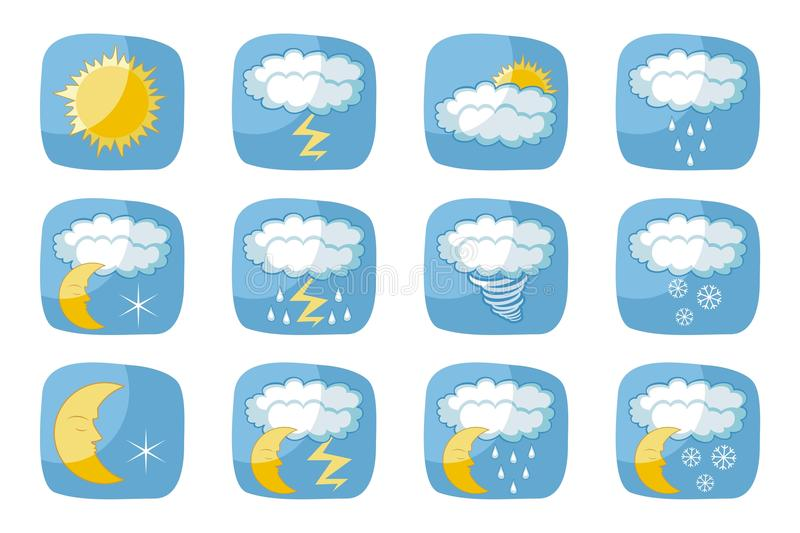 Download Weather Icons stock vector. Image of season, bolt, sign - 27239852