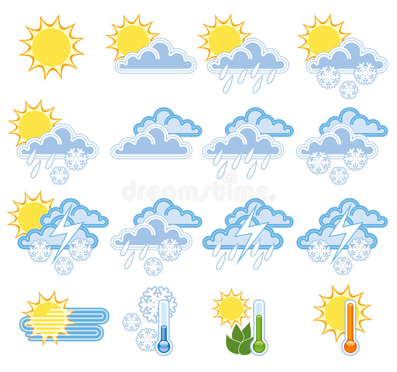 Download Weather icons stock vector. Image of flake, icons, nature - 5224787