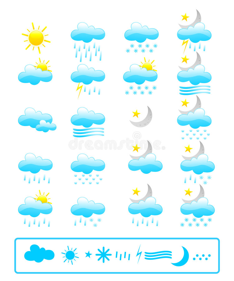 Download Weather icons stock vector. Image of abstract, icon, illustration - 6422426