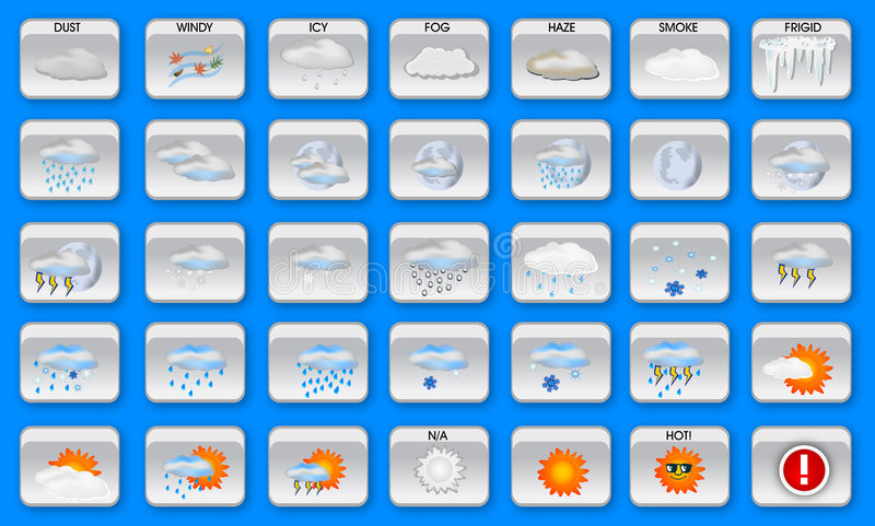 Weather icons royalty free stock photos