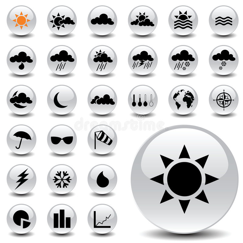 Weather icons. Vector icon collection for meteorology royalty free illustration