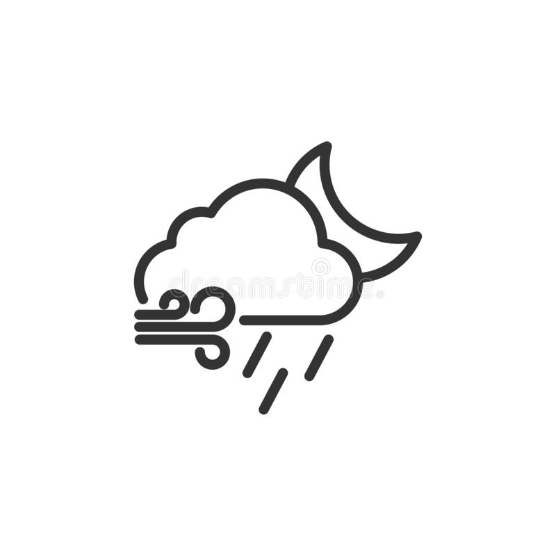 Linear Style Snowy And Windy Cloud Icon. Simple Weather