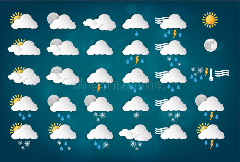 Download Weather Icons With Blue Background Stock Vector - Image: 41403933