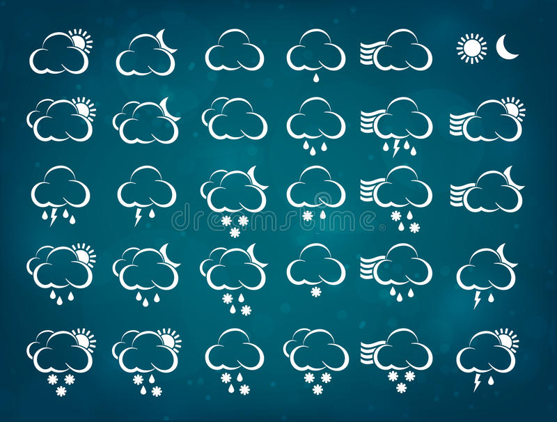 Download Weather Icons With Blue Background Stock Vector - Image: 41404056
