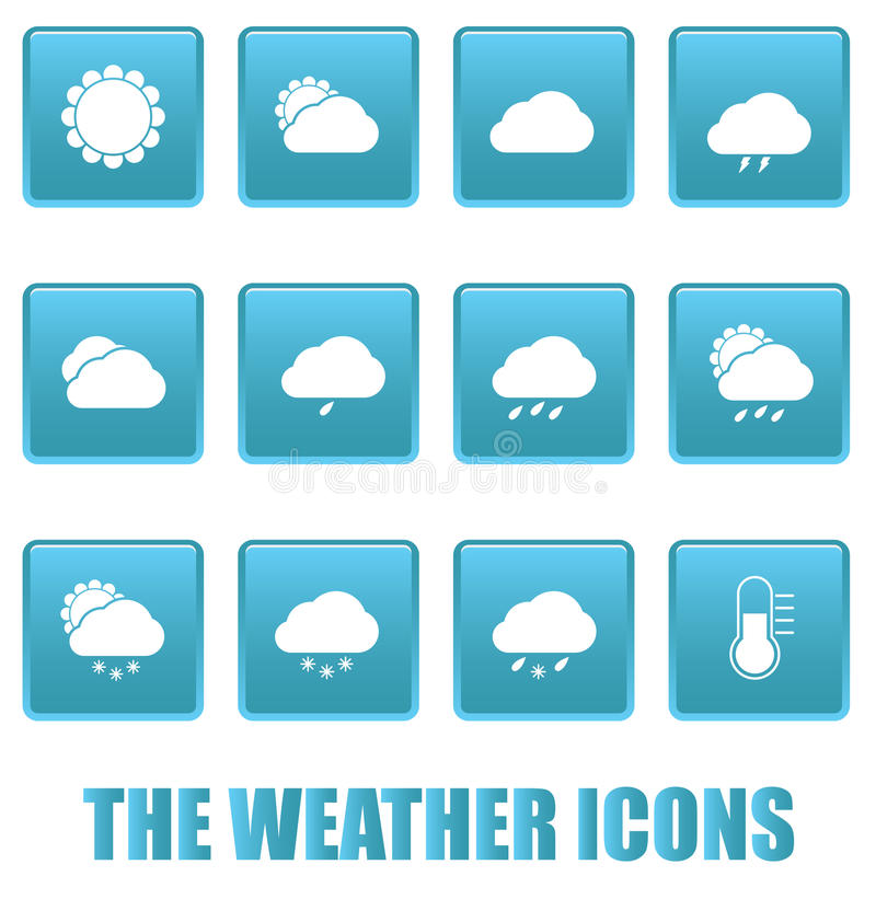 Download Weather Icons On Blue Squares Stock Vector - Illustration of design, cloudy: 30796527