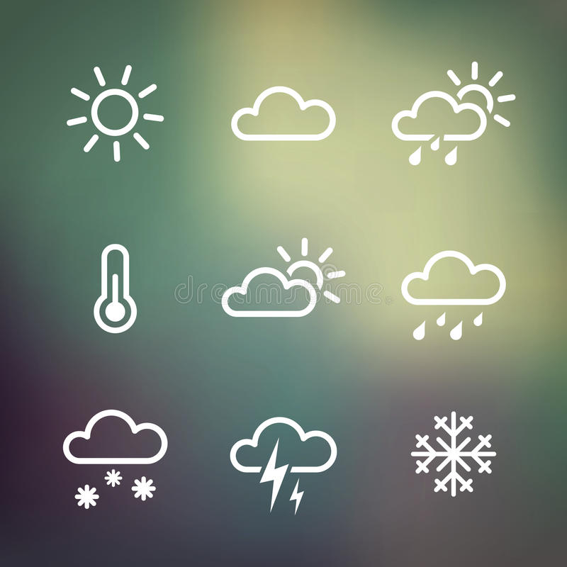 Weather Icons on blured background. Weather Vector Icons on blured background. Isoladted from background. Each icon in separately folder royalty free illustration