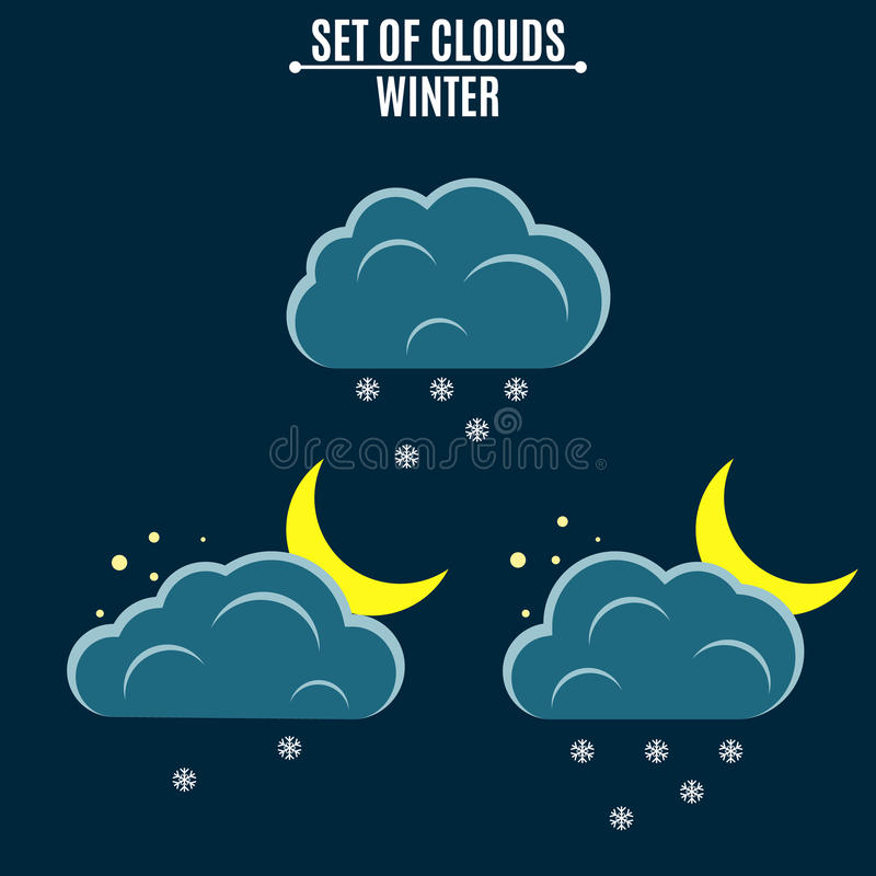 Weather icons. Clouds with snowflakes. A month in the night. Winter illustration in a flat style. Falling snow. Environment vector illustration