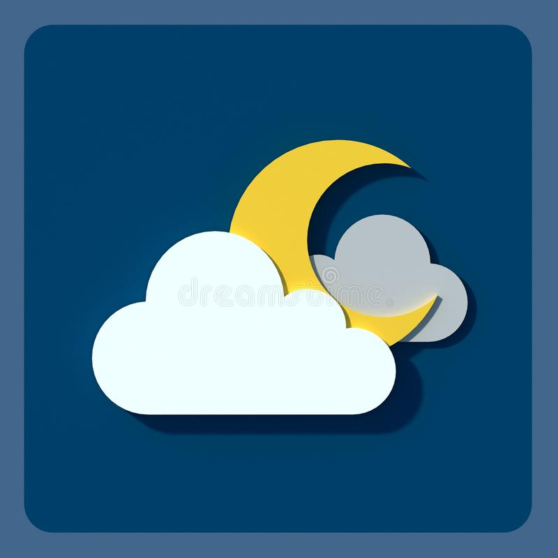 Weather icons, clouds and sun. vector illustration