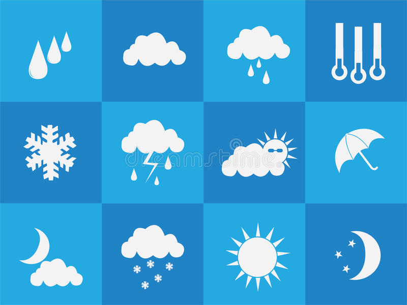Weather icons. Multiple weather simple icons on blue background royalty free illustration