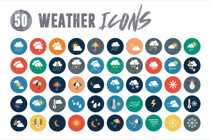 50 Weather Icons. Ready for your projects. Icons included: Cloud icons Rainy weather icons Sun weather Icons Snowy weather icons Night weather icons Windy vector illustration