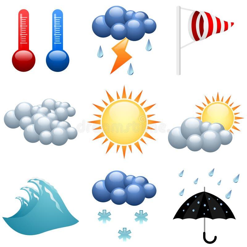 Weather icons set stock illustration