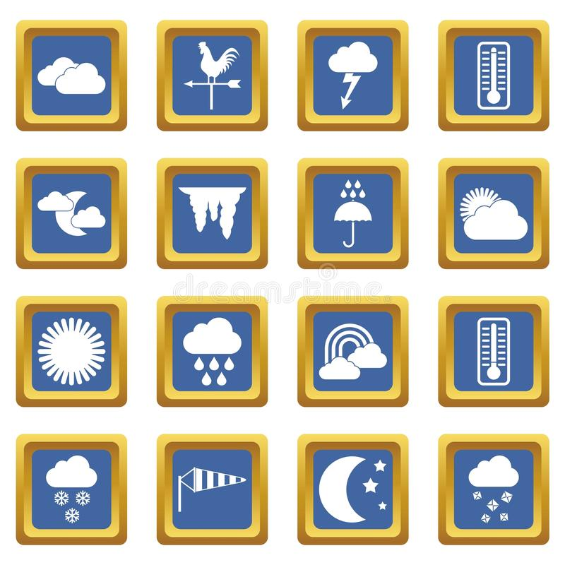 Weather icons set blue. Weather icons set in blue color isolated vector illustration for web and any design vector illustration