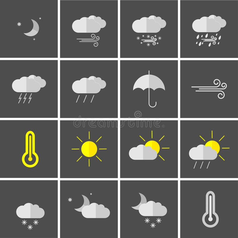 Download Weather icons stock illustration. Image of thermometer - 83714216