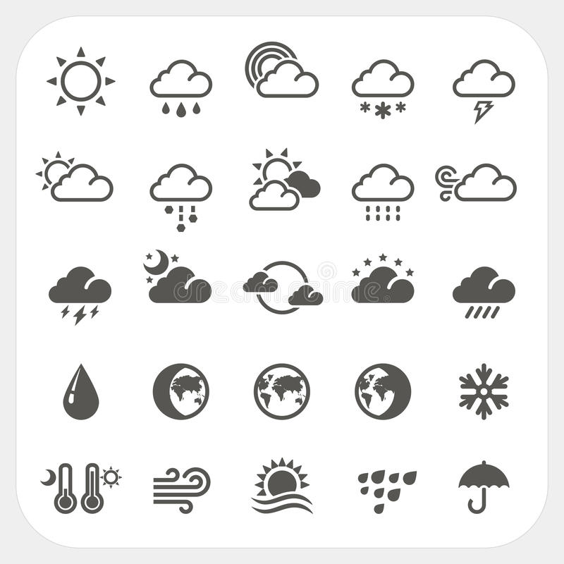 Weather icons set stock illustration
