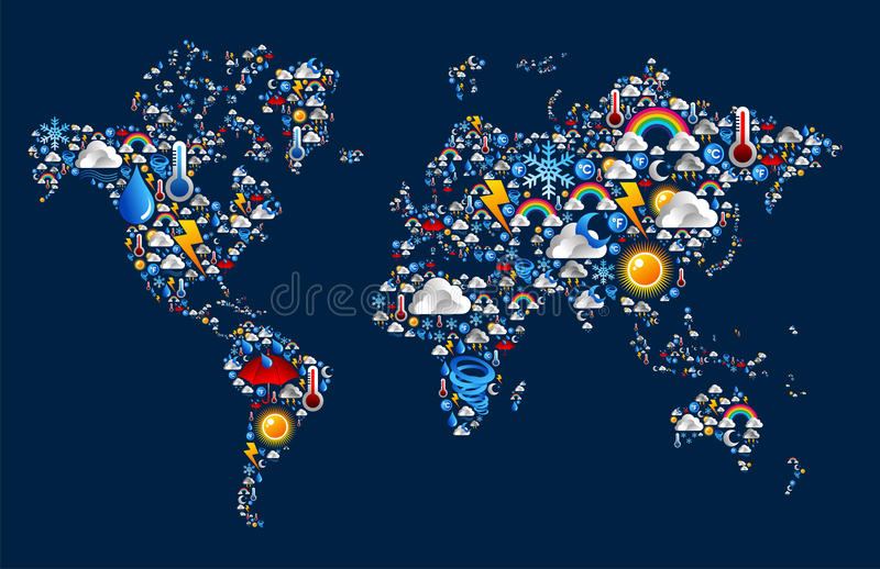 Download Weather Icons Set On Map World Shape Royalty Free Stock Photos - Image: 25131098