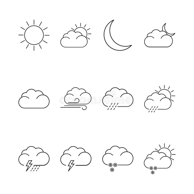 Weather icons. Set of weather thin line icons stock illustration