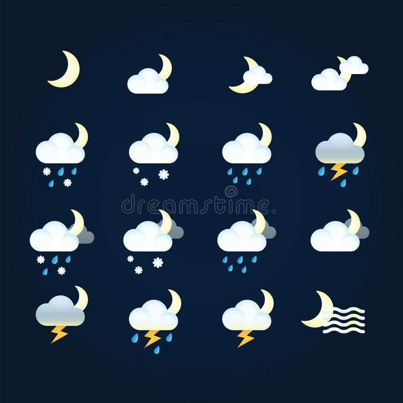 Weather icons sun and clouds in night sky, rain with snow, thunder and lightning. Flat vector weather and meteorology royalty free illustration